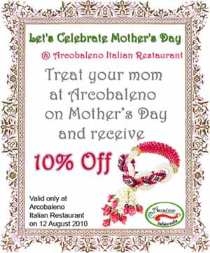 Let's Celebrate Mother's Day at Arcobaleno Italian Restaurant